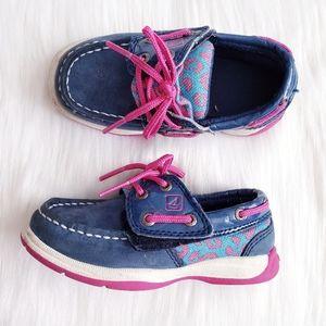 Sperry Girls Intrepid Jr in Blue & Pink Leopard